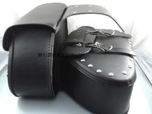Free shipping motorcycle conversion Bag box hanging box side edging tool kit-bag Motorcycle saddle bag / Black with rivets