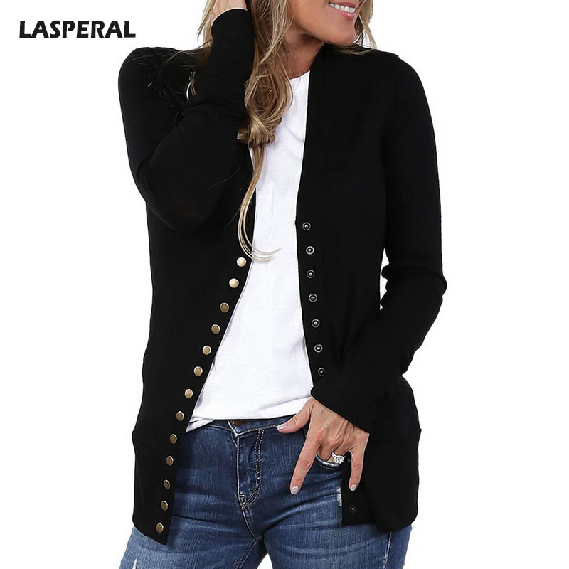 LASPERAL 2018 Spring Fashion Patchwork Basic Jacket Coat Women Casual Button Sweatshirts Overcoat Outerwear Slim Fitness Jackets ...