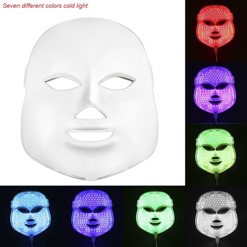 1 set Prfessional LED 7 Couleurs Masque Facial Usage Domestique Instrument de Beauté Anti Acné Rajeunissement de La Peau Photodynamique Beauté Visage Masque