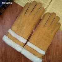 wholesale Korean version the winter leather gloves ladies sheepskin thickening car riding warm gloves fur gloves