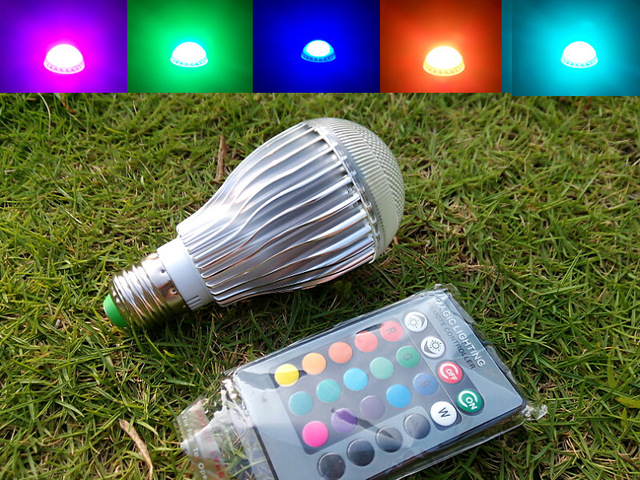 Remote control colour changing rgb led bulb a w lm e