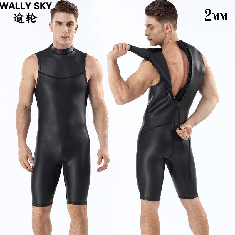 2mm Neoprene Men Diving Wetsuit Snorkling Suit Black One-piece Sleeveless Swimsuit Back Zipper Warm Smooth Skin Wetsuits Vests sbart professional 2mm men short sleeved wetsuit zipper one piece rash guard wetsuits neoprene scuba diving warm wetsuits