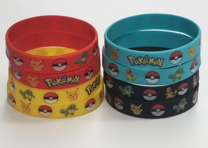 250pcs Lot New Trendy Charms Wristband Pokemon Go Silicon Bracelet Bangles Men Red Black Rubber Bracelets For Women