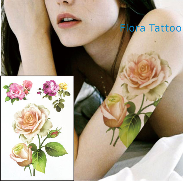 Ft04 Yellow White Rose Temporary Body Tattoo Red And Pink