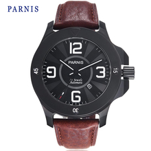 47mm Parnis Watch Sapphire Crystal Black Dial PVD Case Genuine Leather Watchband Men Automatic Wristwatch