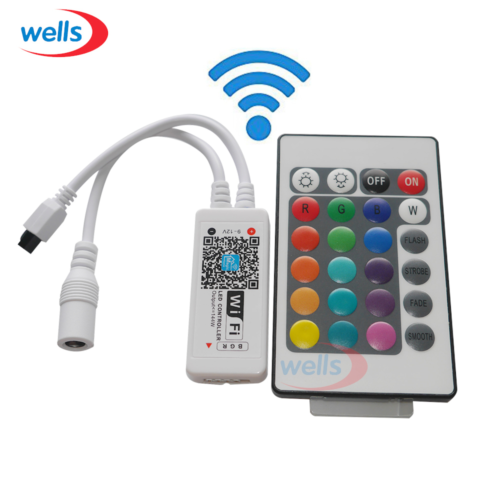 1ks RGB / RGBW wifi ovladač s 24kanálovým bezdrátovým IOS / Android mobilním telefonem pro 5050 RGB / RGBW LED pásek