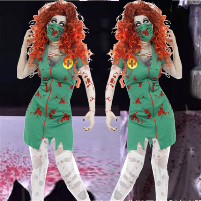 2018 New Girl Bloody Mary Costume Halloween Theme Party Clothes Zombie Nurse Cosplay Dress DS Performance Clothes Devil Clothing