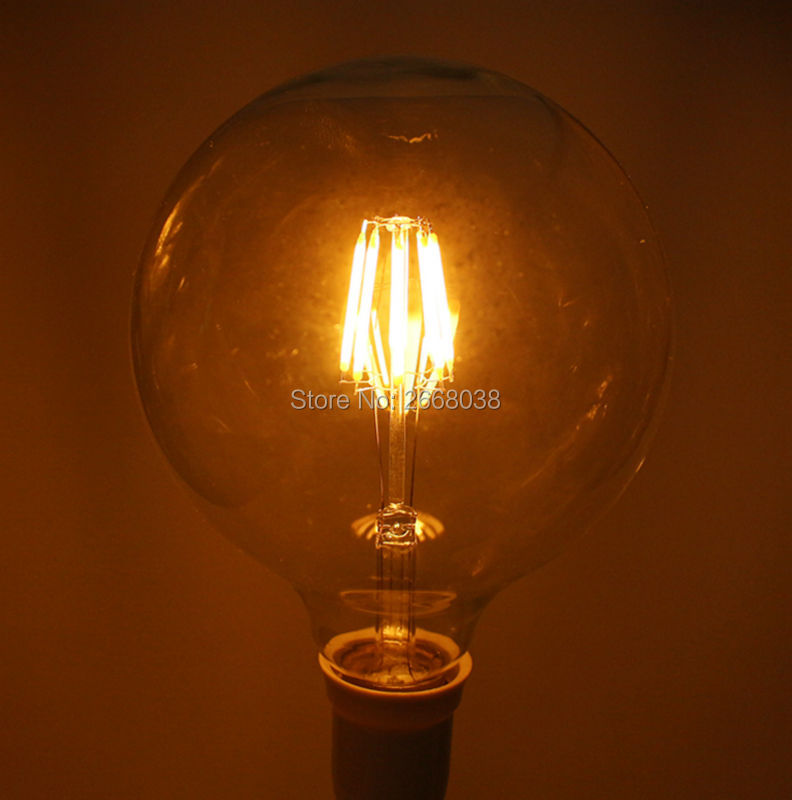 NEW Edison Led Filament Bulb G125 Warm White Global light 4W/6W/8W filament led bulb E27 clear glass indoor lighting lamp AC220V high brightness 1pcs led edison bulb indoor led light clear glass ac220 230v e27 2w 4w 6w 8w led filament bulb white warm white