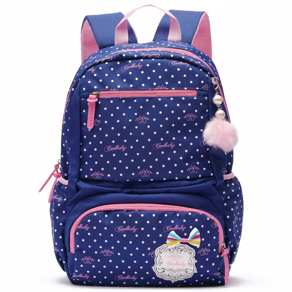 Cute Waterproof Nylon Backpack for Girls Dots Printing School Laptop Bag Large Student Bookbags Travel Backpacking Purse Daypack