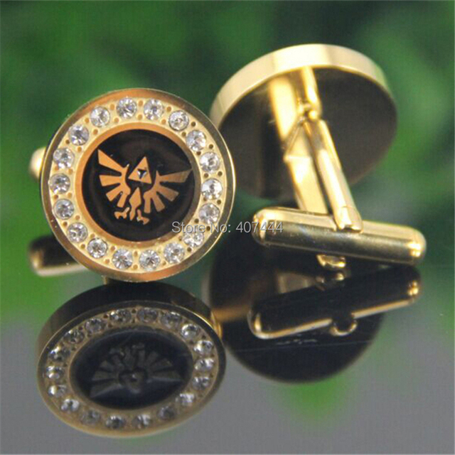 2PCS Free Shipping USA UK Canada Russia Brazil Hot Sale Gold Color LEGEND Of ZELDA Stainless Steel CuffLinks With Cubic Zirconia