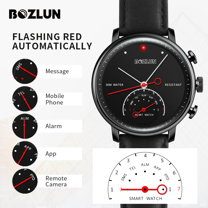 Hybrid Smart Watch Android Men Top Fashion Quartz Watches Luxury Brand Remote Camera Call Reminder Smartwatch Pedometer Bozlun wireless service call bell system popular in restaurant ce passed 433 92mhz full equipment watch pager 1 watch 7 call button