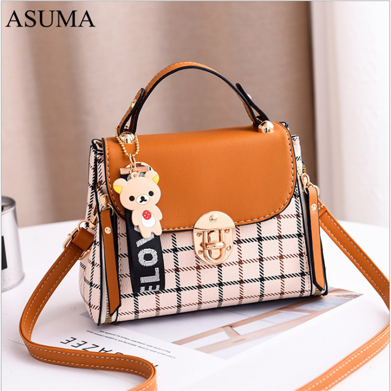 Luxury Women PU Leather Shoulder Bag Ladies Handbags Quality Plaid Messenger Bags Female Small Tote Crossbody Bag bolsa feminina in Top Handle Bags from Luggage Bags