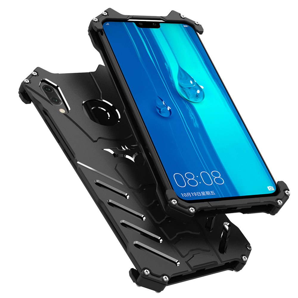 R-JUST BATMAN Luxury Doom Heavy Duty Armor Metal Aluminum Protect Phone Case Enjoy 9 Plus Bags Armor Covers For Huawei Y9 2019