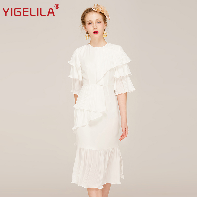 YIGELILA Women Summer White Ruffles Dress Fashion Solid O-neck Flare - Women's Clothing - Photo 1