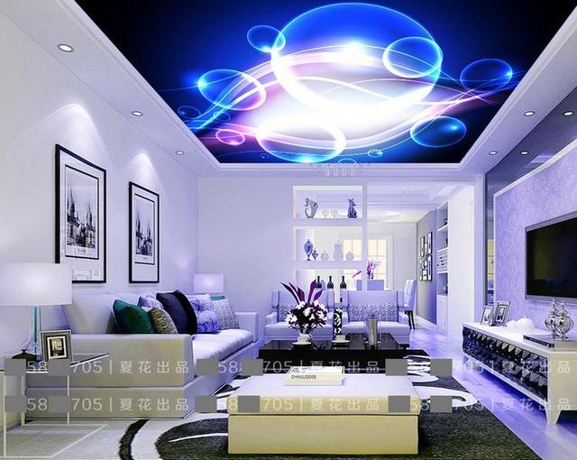 Kundenspezifische stereoskopische tapete decke Blau cool blasen 3d ...