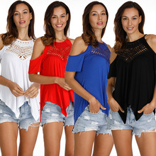 Off Shoulder Openwork Stitching T-shirt Tops For Women Short Sleeve Lace up Solid Lady Loose Tees Hollow Out Cut Out Tops off the shoulder cut out lace blouse