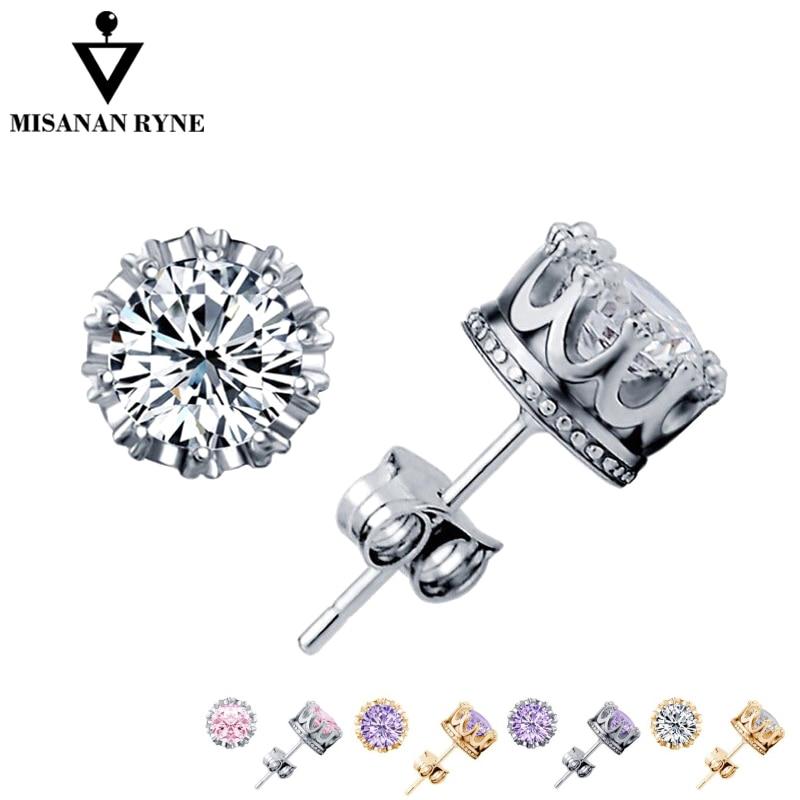 MISANANRYNE 2019 Stud Earings Fashion Jewelry Silver Unisex Women/Men Crystal Earrings AAA Crown Earring Piercing Wholesale