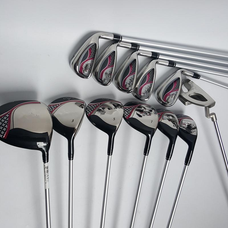 Hot New womens Golf Clubs 6PCS Woods +Golf Irons set 7 8 9 P S.(5pcs) + Putter with Graphite Golf shaft L flex Free shipping клюшка для гольфа golf irons xxi08 4 5 6 7 8 9 p s mp 800 r flex xx10 mp800 xx10 mp800 irons