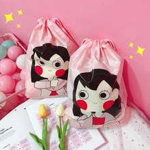 Cute Girl  Cosmetic Bag Trave  Storage Bag Cartoon Waterproof Organizer Clothes Packing Drawstring Bag Shoes Sorting