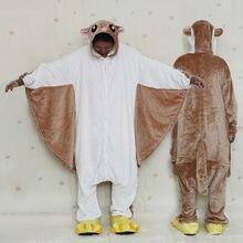 Кигуруми коричневый летящая белка onesies мультфильм пижамы унисекс  Sleepuit взрослых пижамы Косплей Костюм животных Onesie пижамы bb3b77d72e814