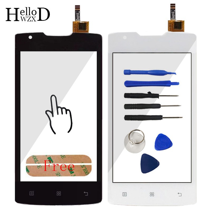 Mobile TouchScree For Lenovo A1000 Touch Screen Glass Digitizer (no LCD) Front Outer Glass Lens Sensor + Adhesive