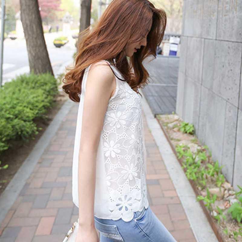 Lace Chiffon Blouses Plus Size Shirts 2019 Summer Women Tops Casual Blusa White Cotton Elegant Sexy Ladies Shirts Female Clothes