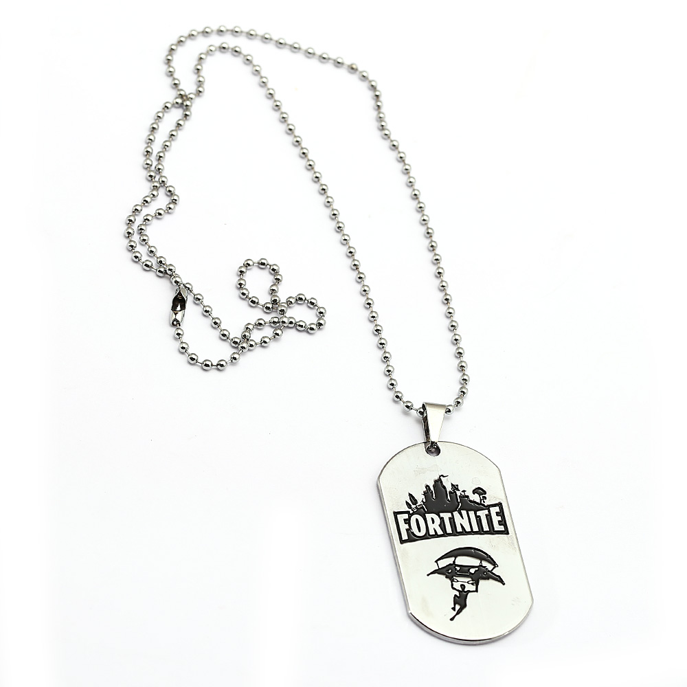Hot FPS Game Fortnite Logo Printing Necklace Silver Metal Pendant Necklaces Beads Chain Men Women Memento Jewelry