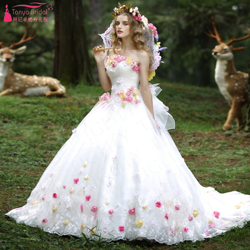 White Romantic Lovely Wedding Ball Gowns Flower Beautiful Princess