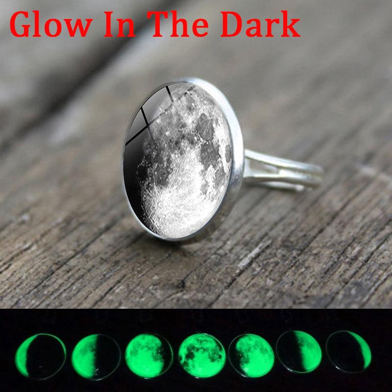 Glow In The Dark Ring Gray Full Moon Glass Cabochon Luminous Silver Ring Adjustable Jewelry Accessories Women New Year Gift