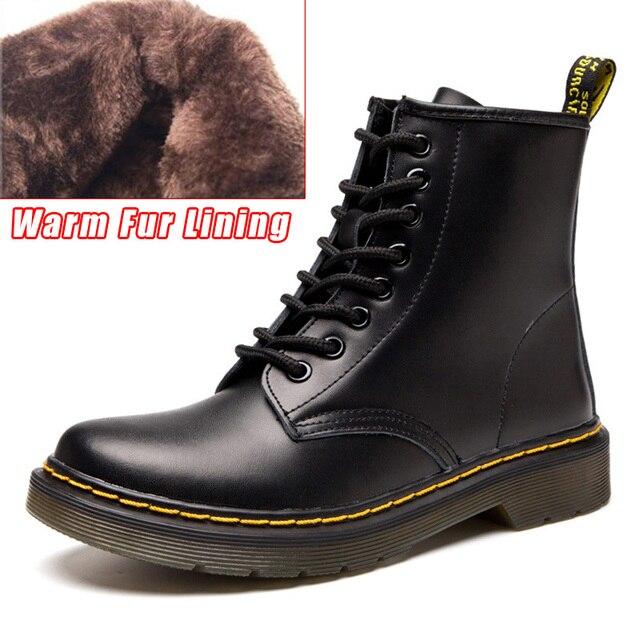 LAKESHI Dr Tornozelo Das Mulheres Botas de Couro Genuíno Botas De Trabalho de Inverno Safeti Botas Ankle Boots Sólidos Feminina Do Punk Mulheres Sapatos Tamanho 46
