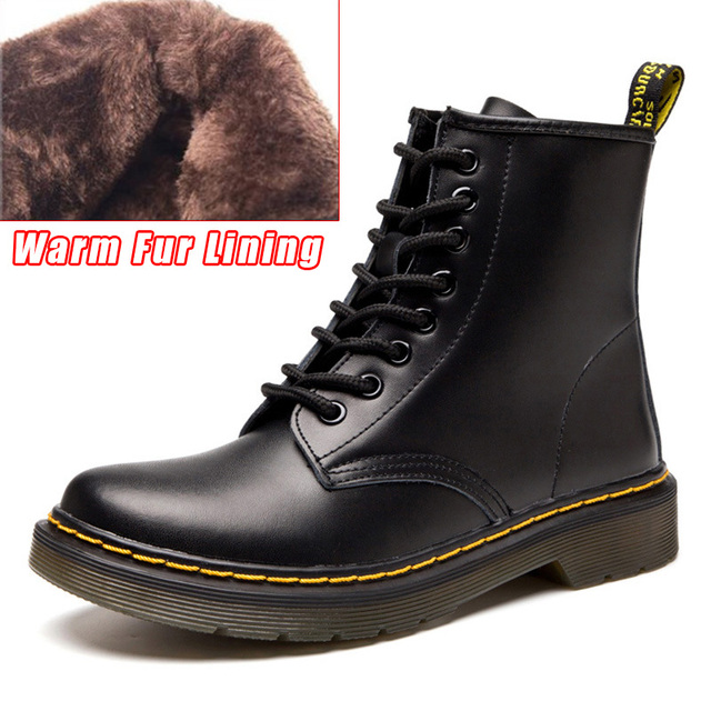 LAKESHI Genuine Leather Women Boots Dr Martin Boots Winter Work Safeti Boots  Solid Ankle Boots Female Punk Women Shoes Size 46 f599e425a