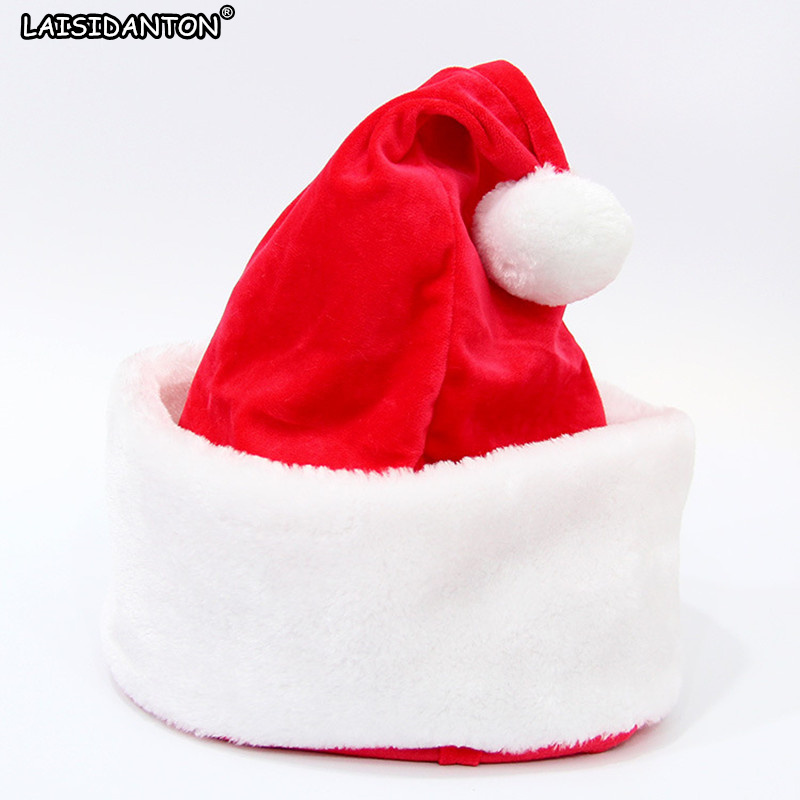LAISIDANTON New Santa Claus Plush Hat With Ball Christmas Xmas Top Topper Cover Festival Decoration Cartoon Caps Good Quality abs rear chrome axle cap cover kit motorcycle decorative accessories for harley davidson sportster xl883 1200n 2005 2014 7395