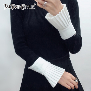 TWOTWINSTYLE Beading Cuff For Women Ruffles Pleated White Hidden Breasted Cuffs Spring Female Vintage Fashion - discount item  44% OFF Gloves & Mittens