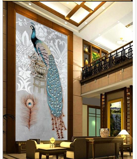 Customized Wallpaper Home Decoration Pea Entrance Decorative Painting Background Wall