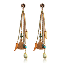 Indian Ethnic Brown Tassel Drop earrings Long chain earrings imitation pearl Beads Dangles orecchini pendenti BOHO Jewelry Gift