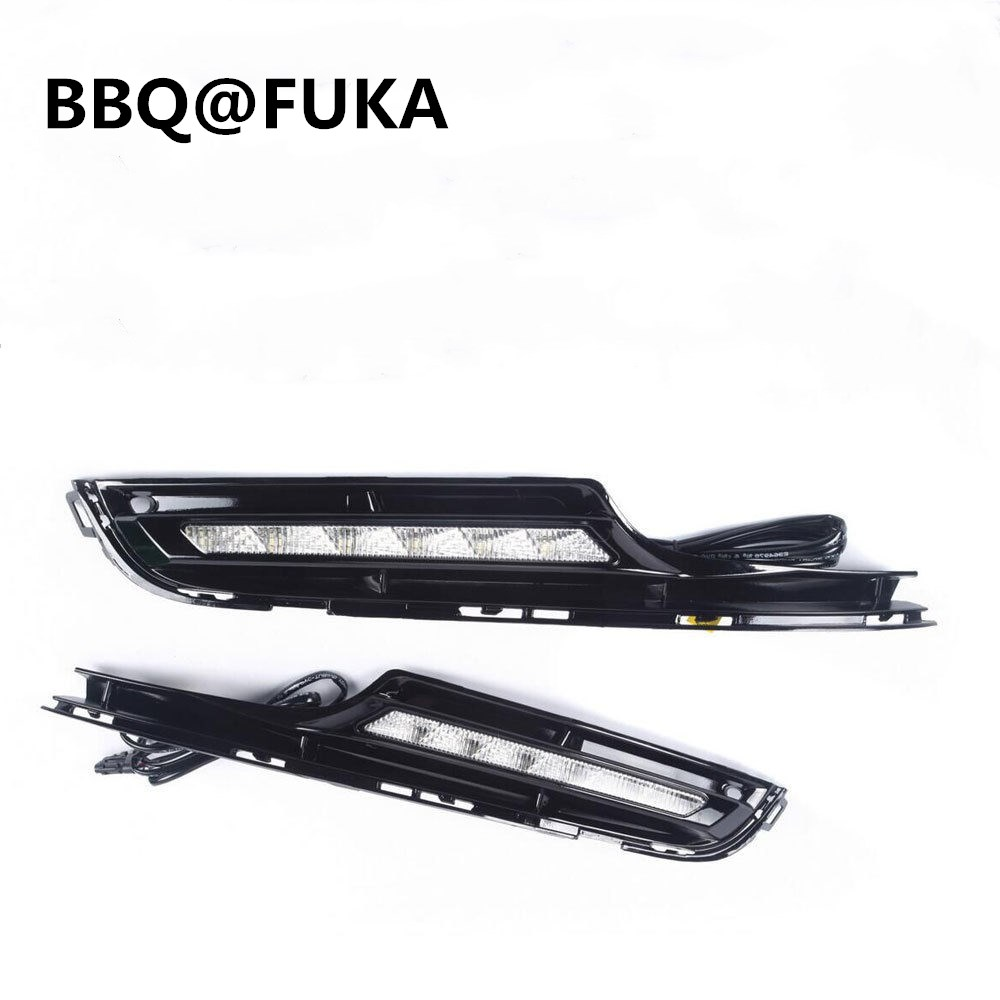 BBQ@FUKA 2Pcs ABS Daytime Running Light LED DRL Driving Fog Lamps Fit For Golf7 MK7 2014 2015 Car Styling Auto Parts Accessories bbq fuka rear trunk shade cargo cover fit for 2011 2013 ford edge black