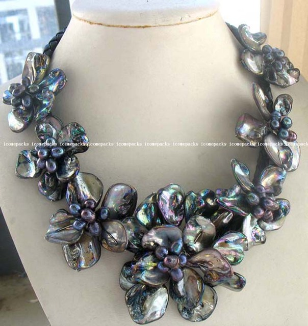 "Women Gift word Love women Fashion Jewelry wholesale wonderful black freshwater pearl 40-60 mm sea shell flower 18.5"" necklace"