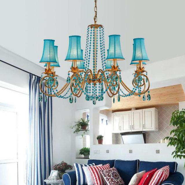 Modern Crystal Chandelier Coffee Shop Europe Dining Room Bedroom Girl Room  Romantic Blue Crystal Lamps Led