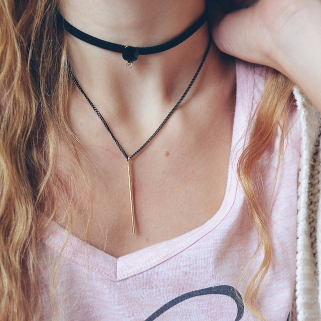 eManco layered chokers necklace women 2017 popular gothic black leather tattoo necklaces with stone copper pendant bijouterie