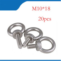 20pcs/lots M10*18 304 Stainless Steel Lifting Eye Bolts Round Ring Hook Bolt