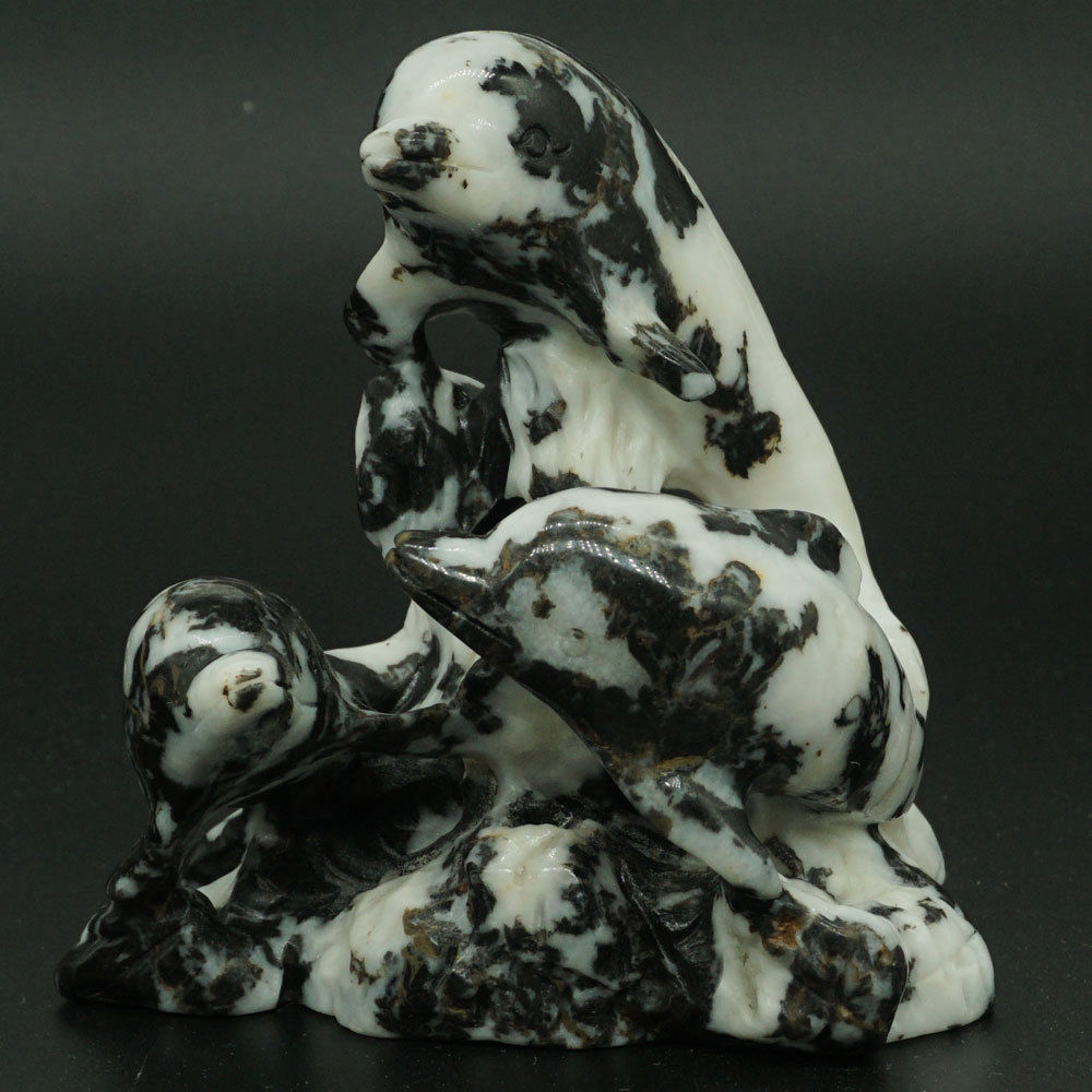 3.66 Natural Black White Zebra Dolphins Figurine Crystal Healing Home Dector3.66 Natural Black White Zebra Dolphins Figurine Crystal Healing Home Dector