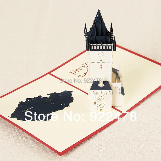 New Prague Astronomical Clock Creativity Greeting Cards Birthday Child Handmade Pop Up 10pcs Lot