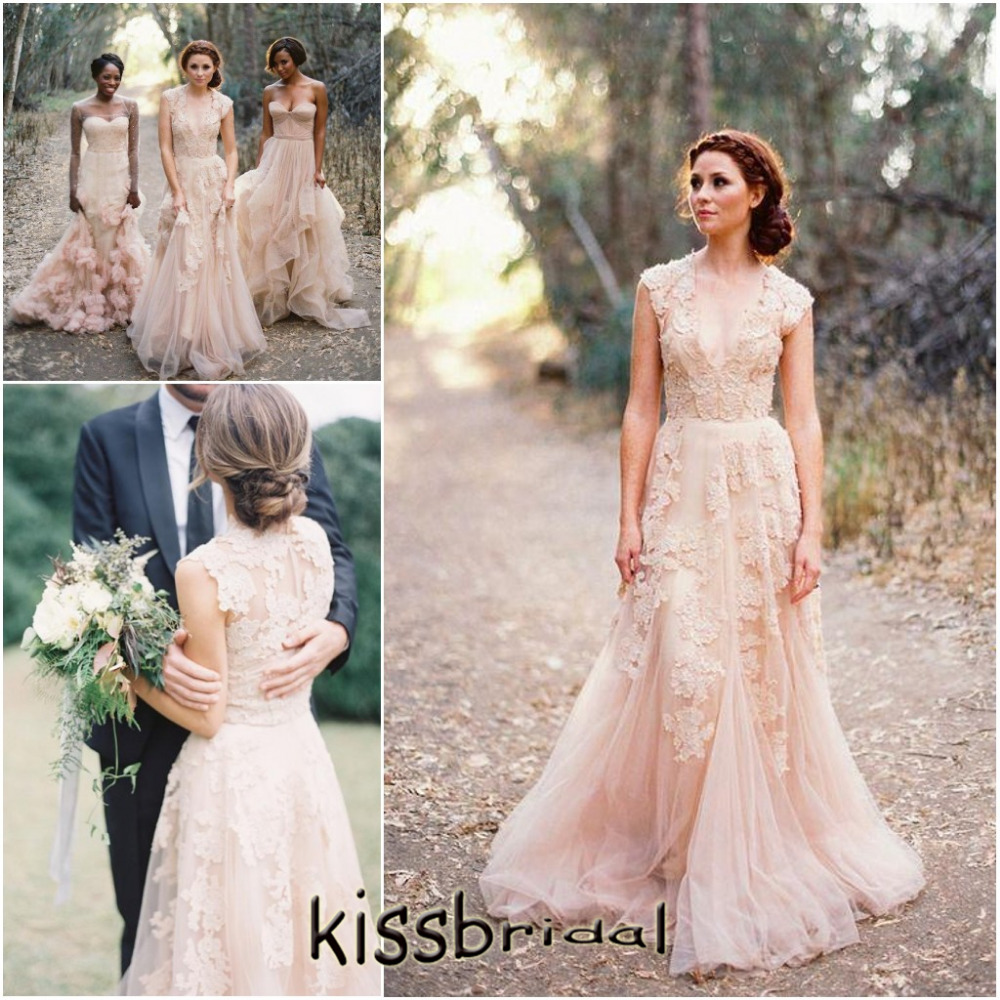 marchesa wedding dresses bridal fashion week spring blush tulle wedding dress Marchesa Spring blush tulle ball gown with metallic floral embroidery and three quarter sleeve