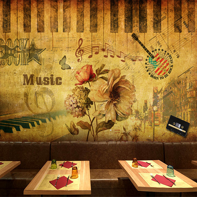 Custom Size Photo 3D Retro music mural living room sofa TV background wall coffee house bedroom clothing store wallpaper mural free shipping 3d cartoon graffiti mural living room sofa background wall coffee house tv restaurant bar wallpaper mural