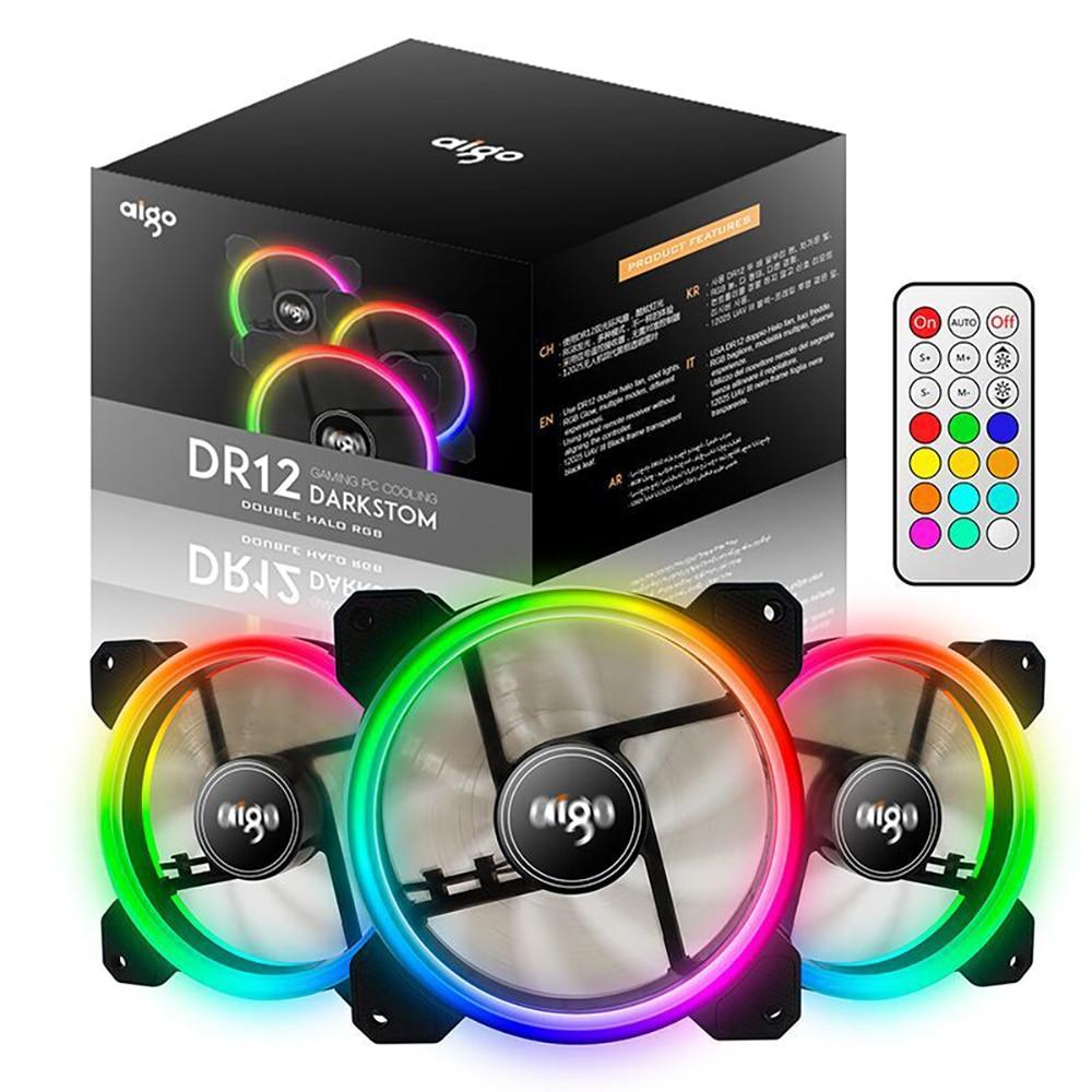 Aigo DR12 3 RGB LED 120mm PC caso de ventilador de refrigeración de alto flujo de aire ajustable Color LED ventilador de caja para PC casos enfriador de CPU del radiador