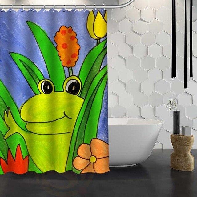 Vixm Hot Sale Custom Frog Shower Curtain Waterproof Fabric For Bathroom