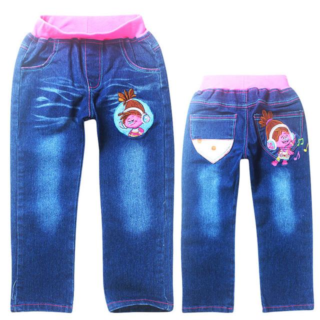 Niñas niños pantalones vaqueros niños pantalones vaqueros trolls 2016 chicas jeans otoño pantalones pantalones niños ropa roupas infantis menina
