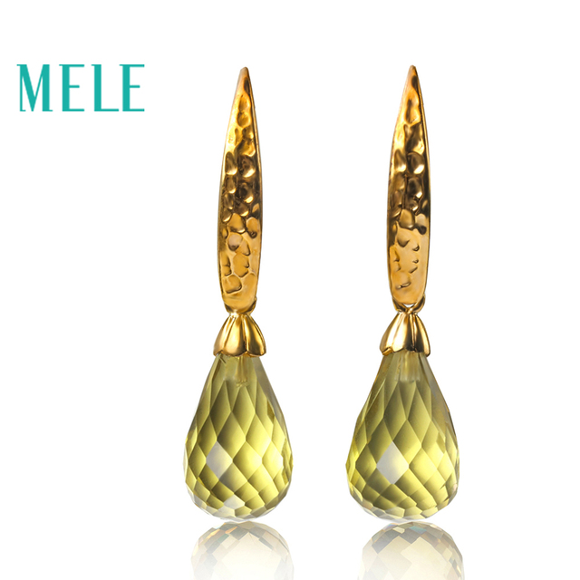 Natural lemon quarts silver earring, tear drop checkerboard cutting in 10mm*20mm, fantastic style