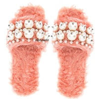 Stylish Pink Fleece Flat Stage Catwalk Slippers Women Fancy Pearl Decoration Fluffy Sandals Trendy Fashion Shoes