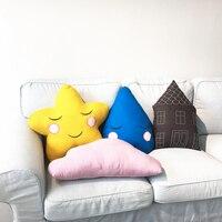 1pc Cartoon Cotton Linen Plush House Moon Star Cloud Water Genie Shape Pillow Cushion Stuffed Plush